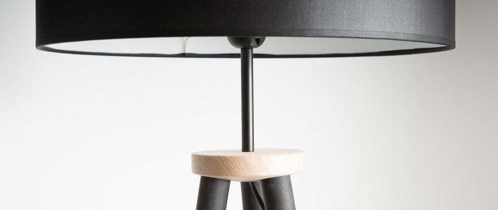 Design-Stehleuchte Dreifuß Holz Schwarz TRIPOD