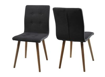 Design-Stuhl Anthrazitgrau und Eiche 2er-Set HORTA