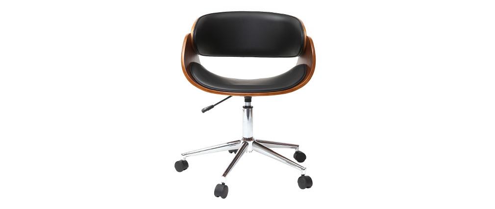 Design-Stuhl auf Rollen Schwarz und Nussbaum BENT