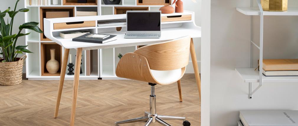 Design-Stuhl auf Rollen Weiß und Nussbaum BENT