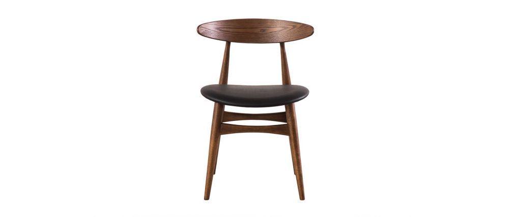Design-Stuhl aus Nussbaum und schwarzem PU 2er-Set WALFORD