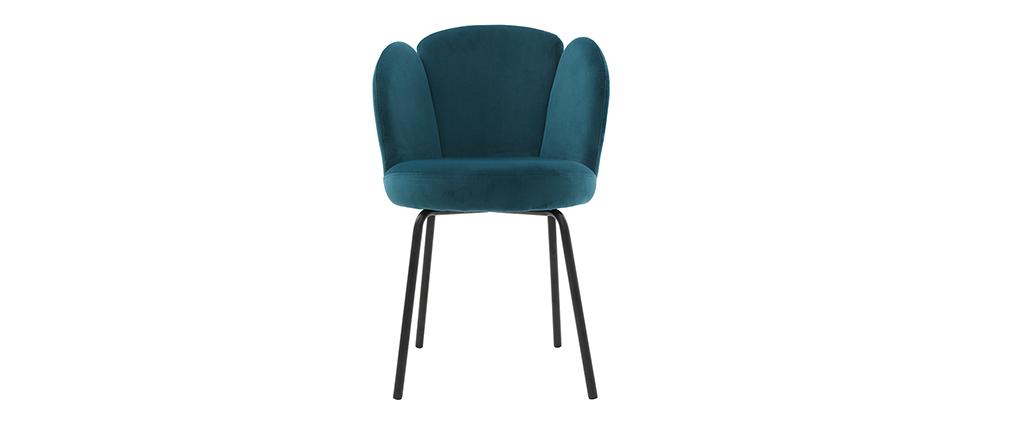 Design-Stuhl aus petrolfarbenem Velours FLOS