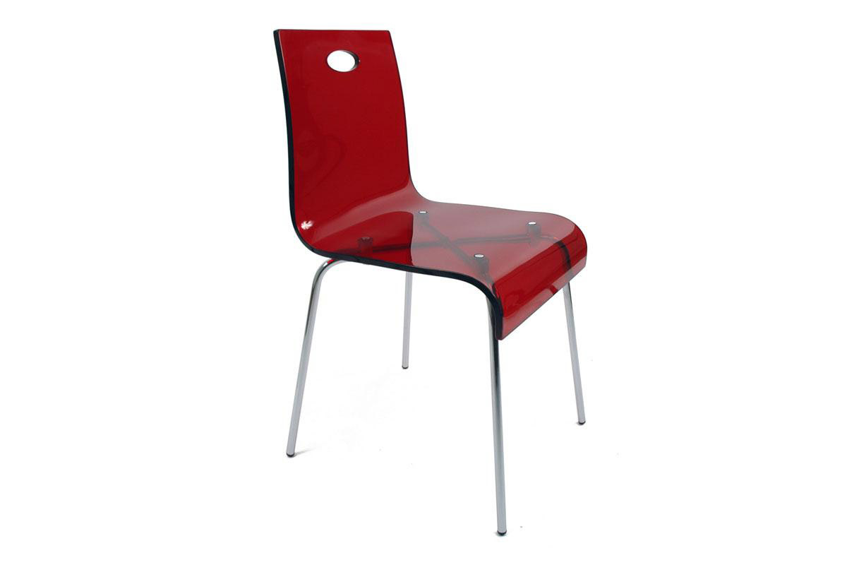 Design stuhl aus plexiglas rot cindy miliboo for Stuhl transparent design