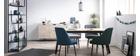 Design-Stuhl blaugrüner Stoff und Metallbeine Schwarz LOV