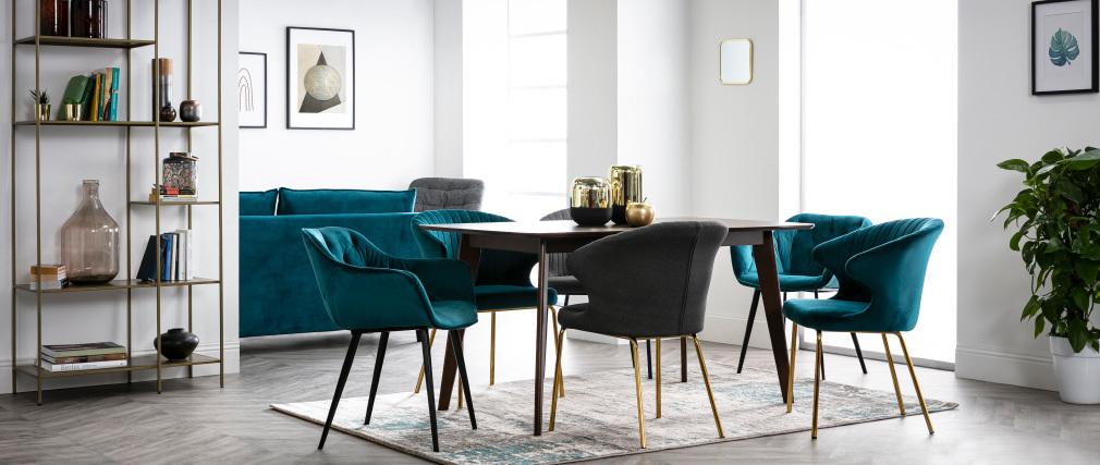 Design-Stuhl dunkelgrauer Stoff und goldfarbenes Metall REQUIEM ? Miliboo  1  Stéphane Plaza