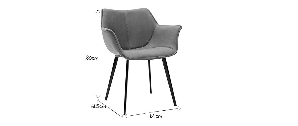 Design-Stuhl dunkelgrauer Stoff und Metallbeine Schwarz VOLO