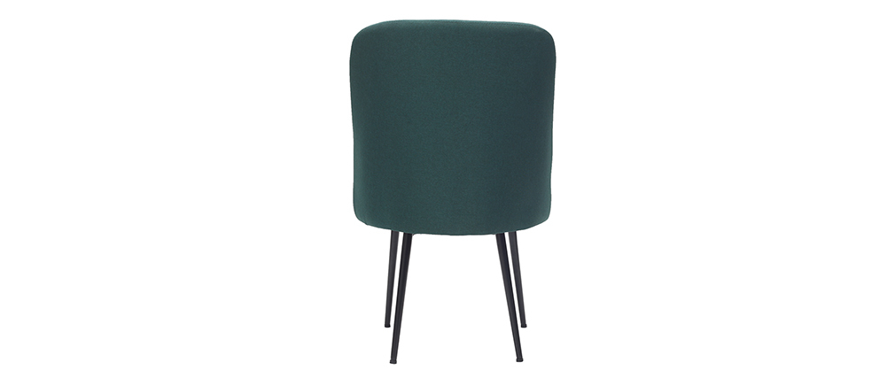 Design-Stuhl dunkelgrüner Stoff und Metallbeine Schwarz LOV