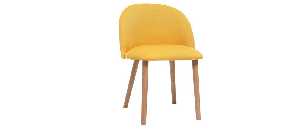 Design-Stuhl Gelb und Holz CELESTE