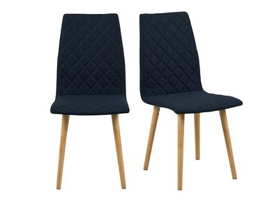 Design-Stuhl Gepolstert Rauten Dunkelblau 2 Stck. DIAMOND