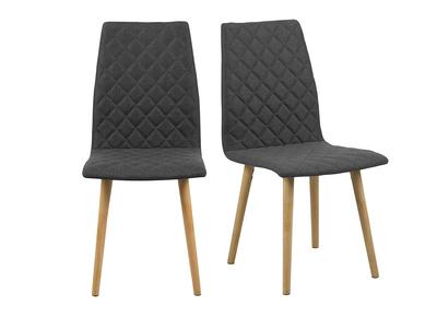 Design-Stuhl Gepolstert Rauten Dunkelgrau 2 Stck. DIAMOND