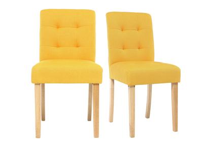 Design-Stuhl gepolstert Stoff Gelb 2er-Set ESTER
