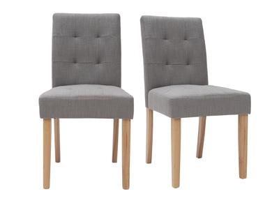Design-Stuhl gepolstert Stoff Grau 2er-Set ESTER
