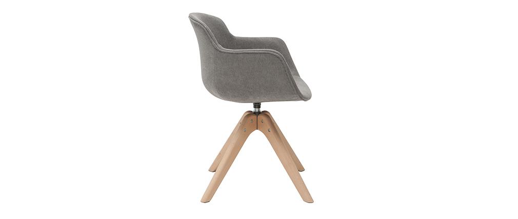 Design-Stuhl grauer Samteffekt und Holz AARON