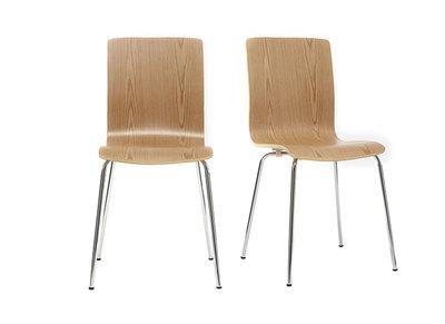 Design-Stuhl helles Holz 2er-Set NELLY