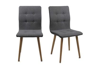 Design-Stuhl Hellgrau und Eiche 2er-Set HORTA