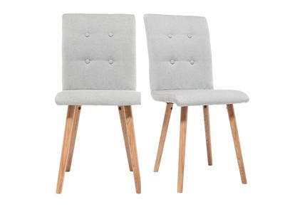 Design-Stuhl Hellgrau und Holz 2er-Set HORTA