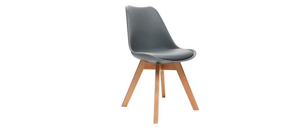 Design-Stuhl Holzbeine Grau 2er-Set PAULINE