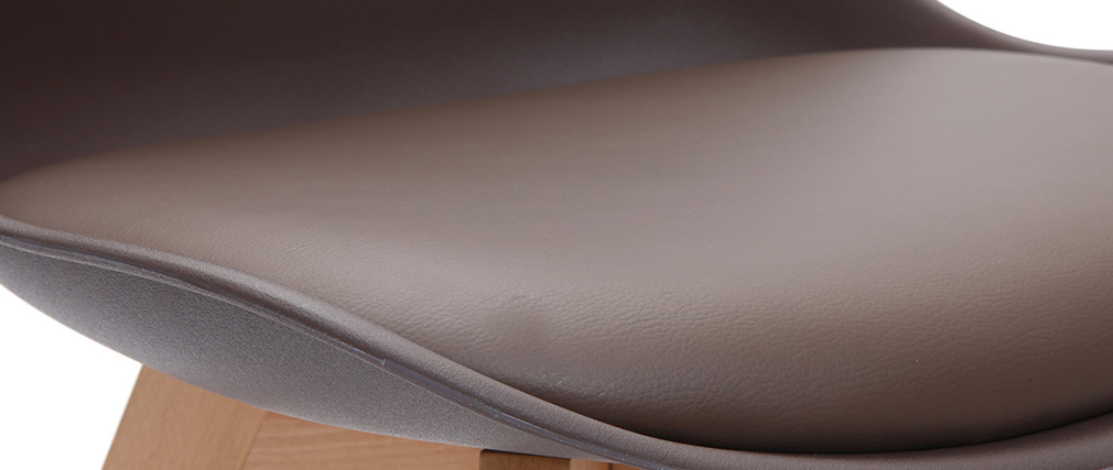 Design-Stuhl Holzbeine Schokobraun 2er-Set PAULINE