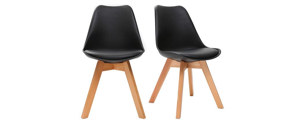 Design-Stuhl Holzbeine Schwarz 2er-Set PAULINE