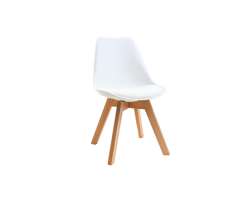 Design Stuhl Holzbeine Weiss 2er Set Pauline Miliboo