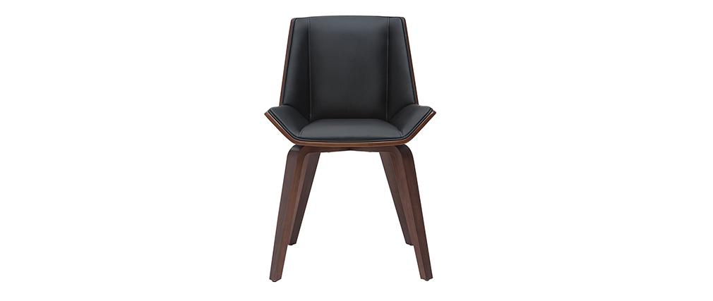 Design-Stuhl MELKIOR aus schwarzem und dunklem Holz