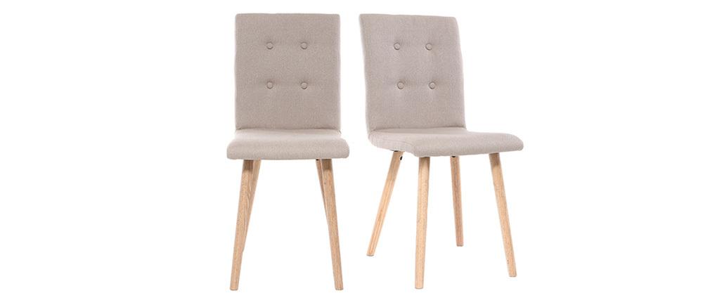 Design-Stuhl Naturfarben und Holz 2er-Set HORTA