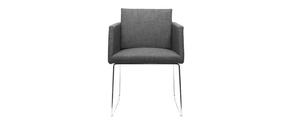 Design-Stuhl Polyester Grau und Chromstahl NEORA