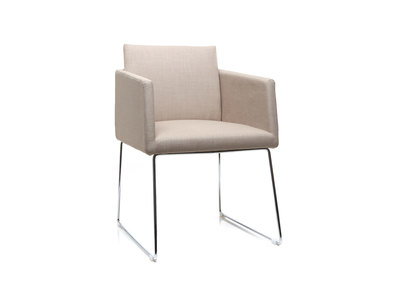 Design-Stuhl Polyester Naturfarben und Chromstahl NEORA