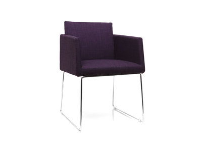 Design-Stuhl Polyester Violett und Chromstahl NEORA