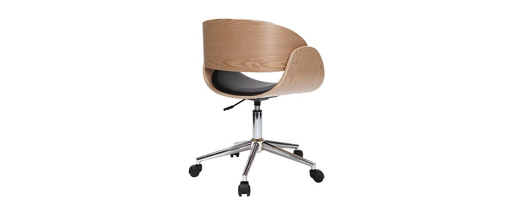 Design schreibtischstuhl  Design-Stuhl Rollen Schwarz und Helles Holz BENT - Miliboo