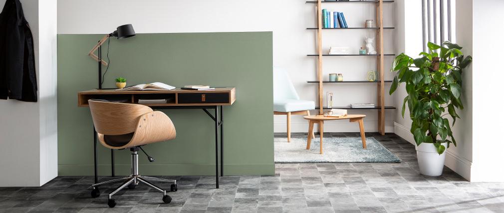 Design-Stuhl Rollen Schwarz und Helles Holz BENT
