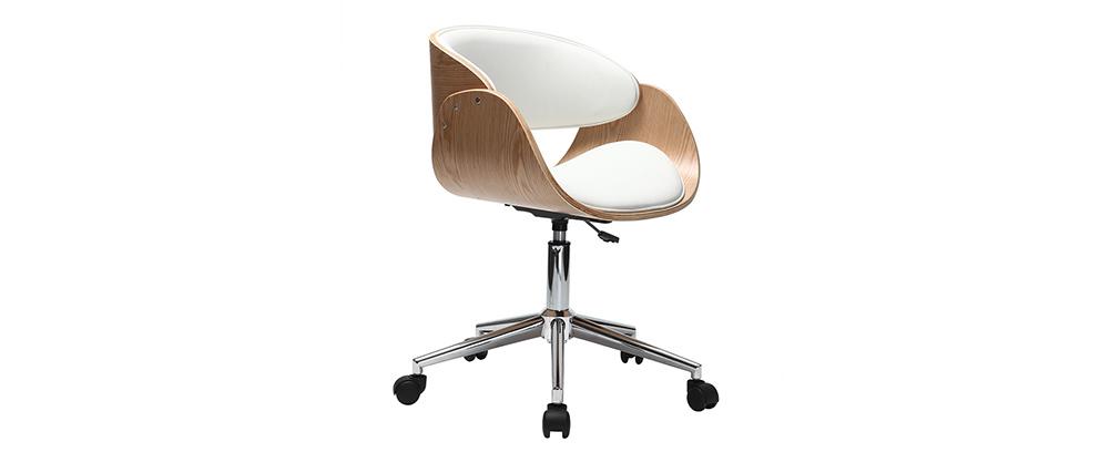 Design schreibtischstuhl  Design-Stuhl Rollen Weiß und helles Holz BENT - Miliboo