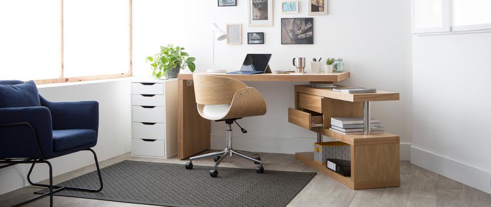 Design-Stuhl Rollen Weiß und helles Holz BENT