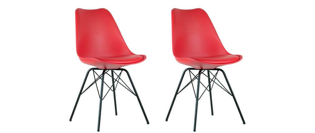 Design-Stuhl Rot Beine in Sternform 2er Set STEEVY V2