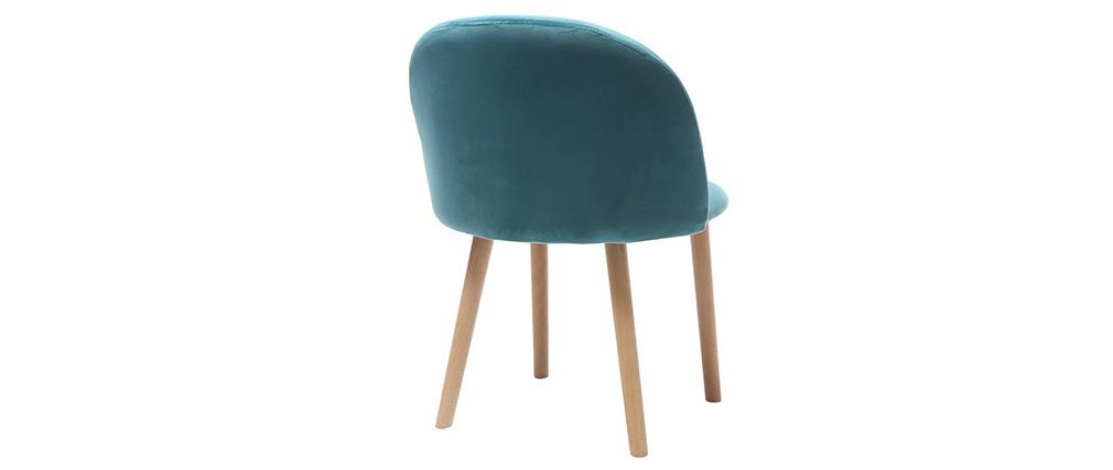Design-Stuhl Samt Blaugrün und Holz CELESTE