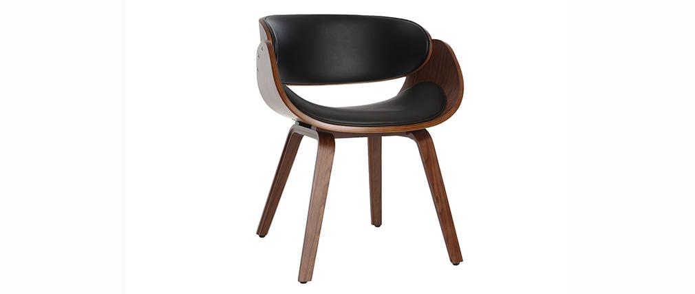 Design-Stuhl Schwarz und dunkles Holz Nussbaum BENT