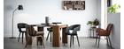 Design-Stuhl, schwarz und dunkles Walnussholz RUBBENS