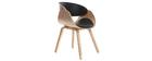 Design-Stuhl Schwarz und helles Holz BENT
