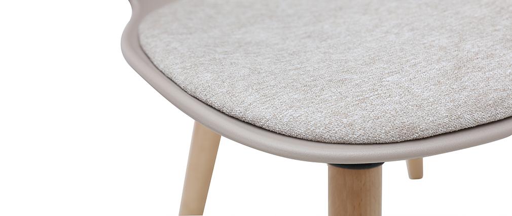 Design-Stuhl taupe und helles Holz WING