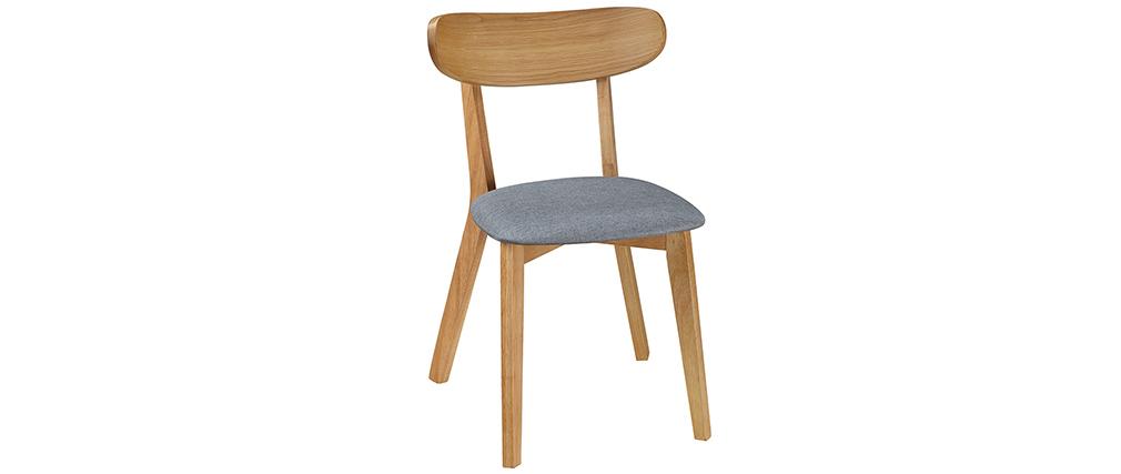 Design-Stuhl Vintage Grau mit Holzbeinen 2er-Set MARIK