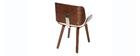Design-Stuhl, weiß und dunkles Walnussholz RUBBENS