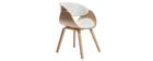 Design-Stuhl Weiß und helles Holz BENT