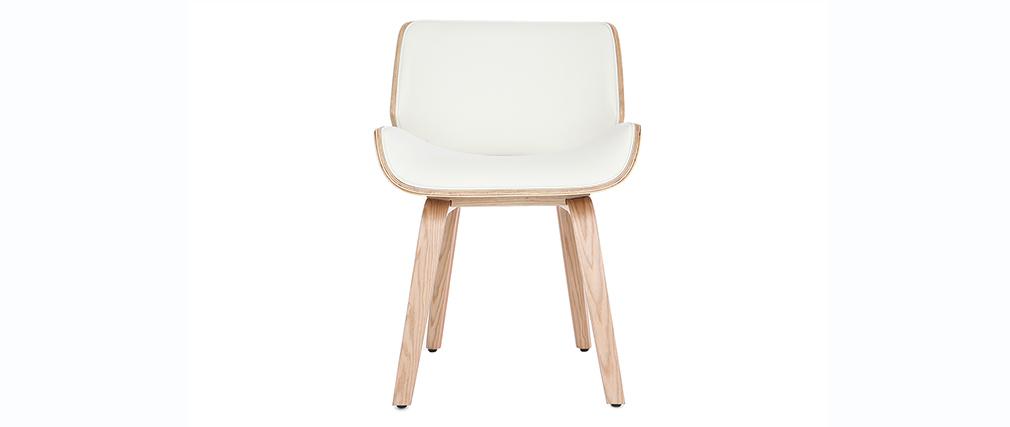 Design-Stuhl, weiß und helles Holz RUBBENS