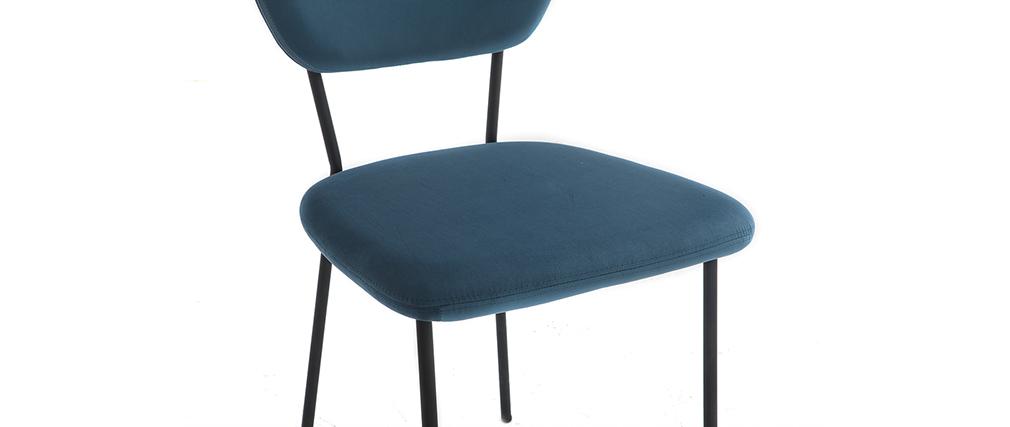 Design-Stühle aus blauem Samt und schwarzem Metallgestell 2er-Satz LEPIDUS