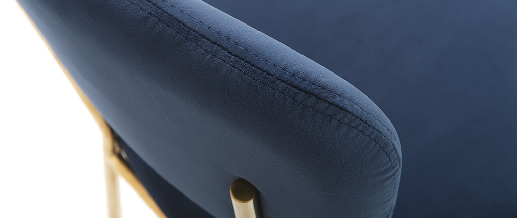 Design-Stühle aus blauem Samt und vergoldetem Metallgestell - 2er-Satz LEPIDUS