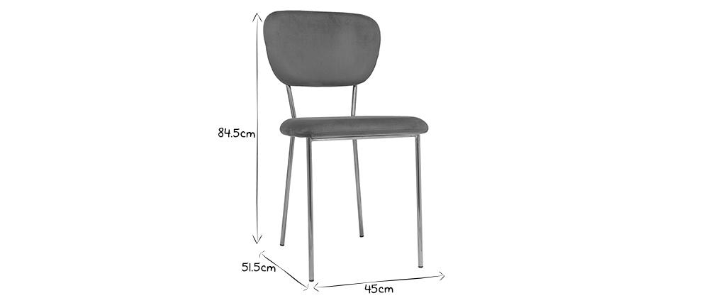 Design-Stühle aus dunkelgrauem Stoff und vergoldetem Metall - 2er-Satz LEPIDUS