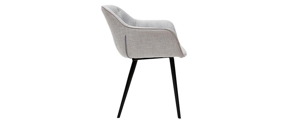 Design-Stühle aus hellgrauem Stoff Stuhlbeine aus schwarzem Metall (2er-Set) BURTON