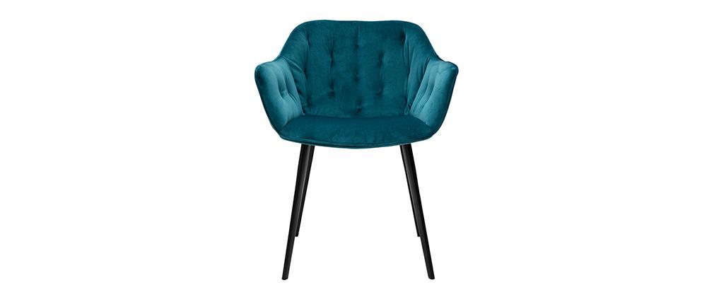 Design-Stühle aus petrolblauem Samt Stuhlbeine aus schwarzem Metall (2er-Set) BURTON