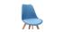 Design-Stühle Blaugrün mit hellen Holzbeinen (2er-Satz) PAULINE