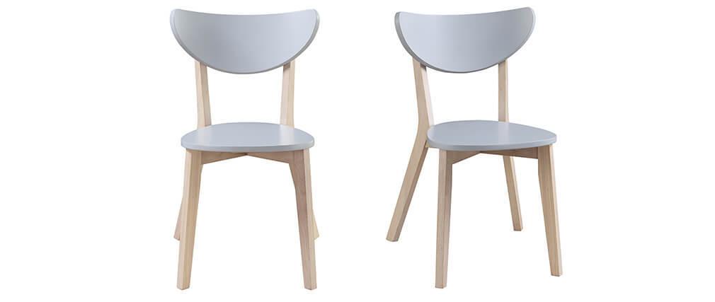 Design-Stühle Grau Beine aus Holz LEENA (2er-Set)